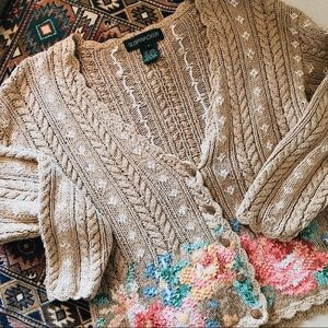 Vintage brown floral knit button up cardigan